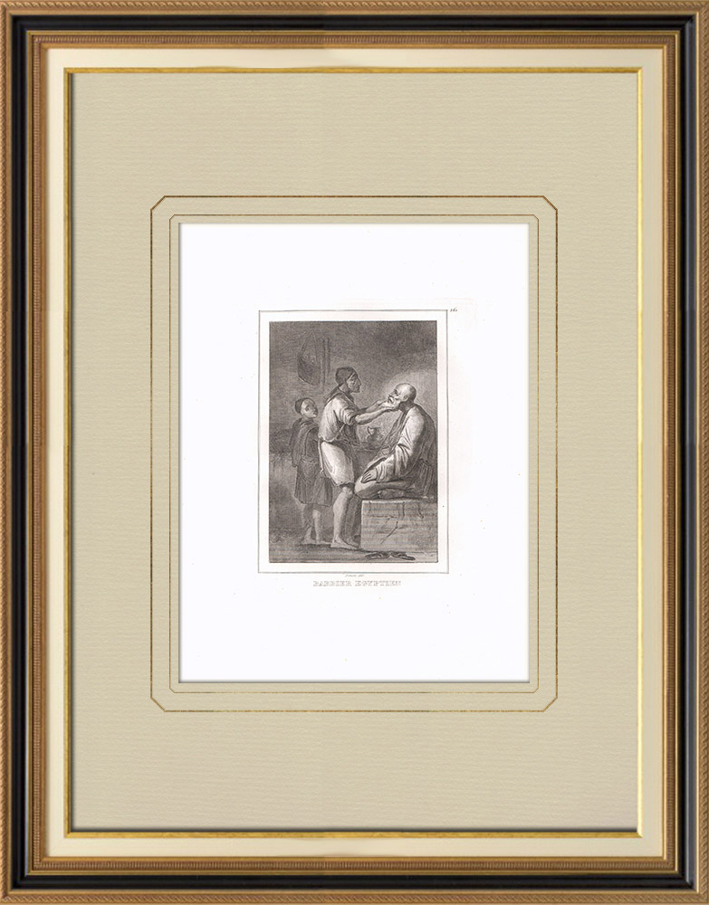 Gravuras Antigas & Desenhos | Barbeiro egípcio em sua loja (Egito) | Gravura em buril sobre cobre | 1830
