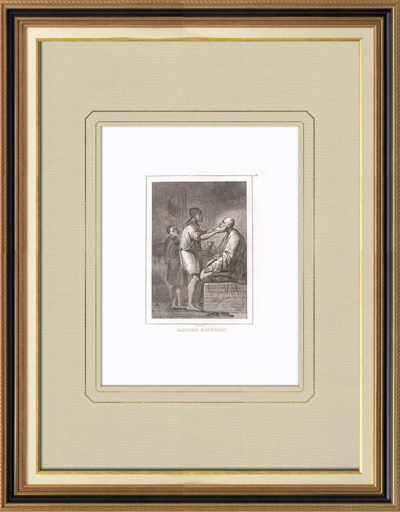 Antika Tryck & Ritningar | Egyptisk frisör i sin butik (Egypten) | Kopparstick | 1830