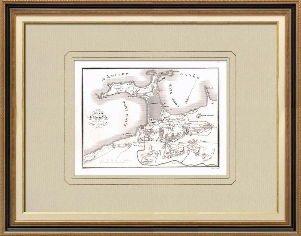 Oude Prenten & Tekeningen   Plan van Alexandrië (Egypte)   Kopergravure   1830