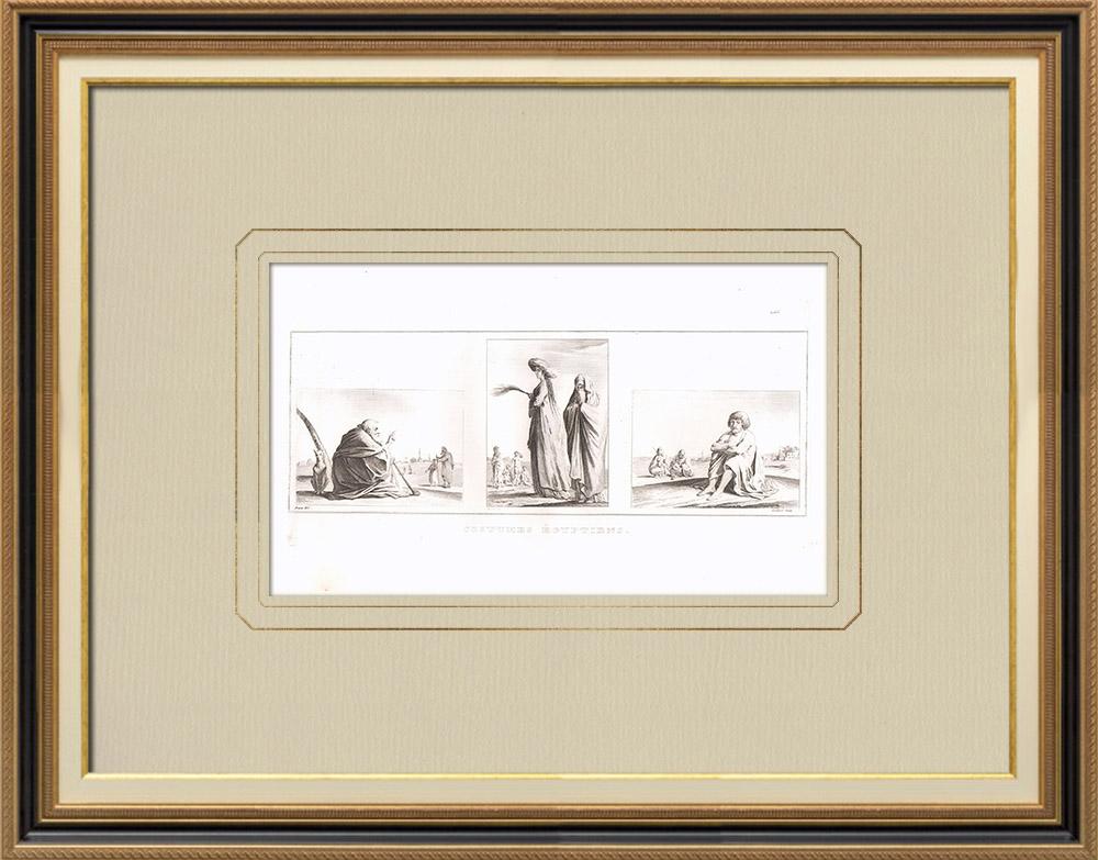 Gravures Anciennes & Dessins | Costumes Egyptiens - Santon - Femme de haute classe - Gellâby (Egypte) | Gravure sur cuivre | 1830