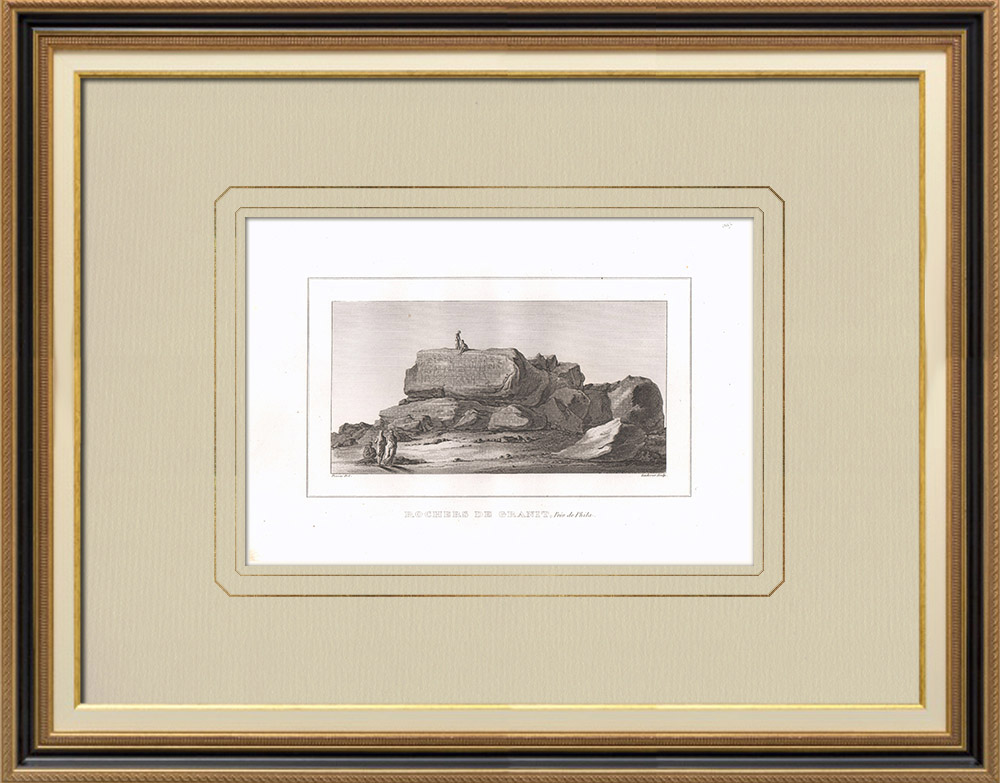 Antique Print & Etching | Granitfelsen in der Nähe von Philae (Ägypten) | Kupferstich | 1830