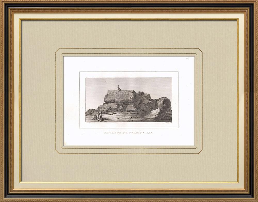 Grabados & Dibujos Antiguos | Rocas de granito cerca de Philae (Egipto) | Grabado calcográfico | 1830