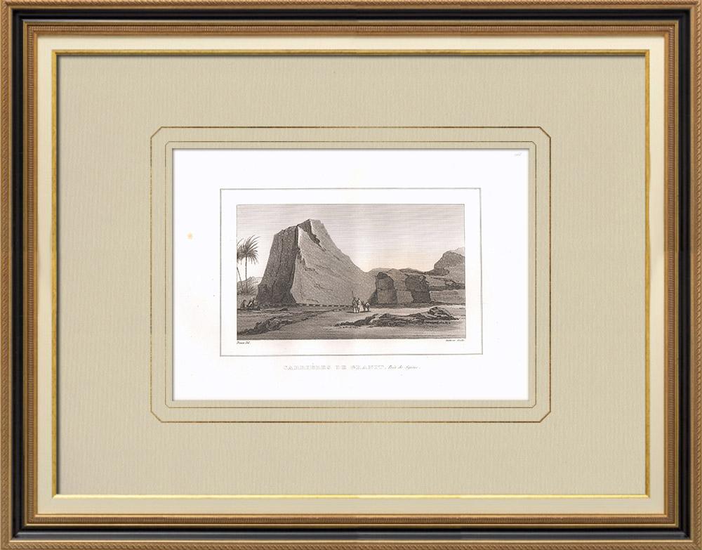 Gravures Anciennes & Dessins | Carrières de granit près de Assouan - Syène (Égypte) | Gravure sur cuivre | 1830