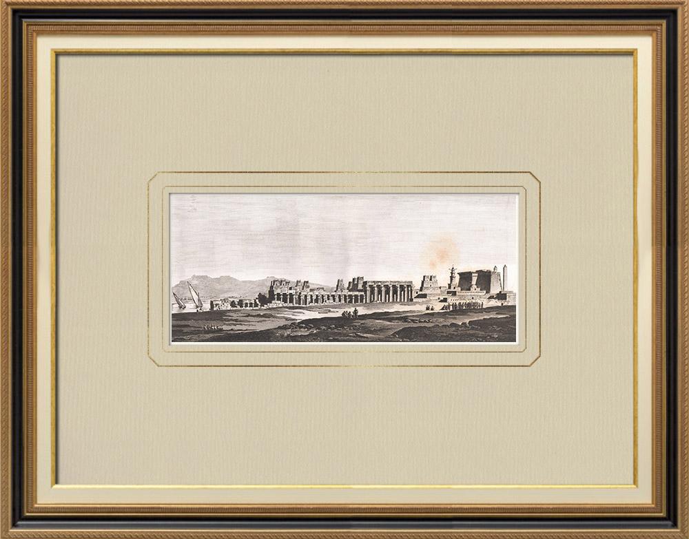 Antika Tryck & Ritningar | Vy över Luxor (Egypten) | Kopparstick | 1830