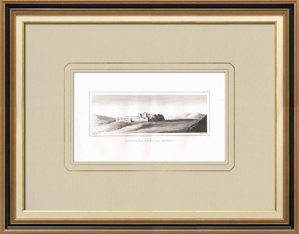 Grabados & Dibujos Antiguos | Convento cerca de Asuán - Syene (Egipto)  | Grabado calcográfico | 1830