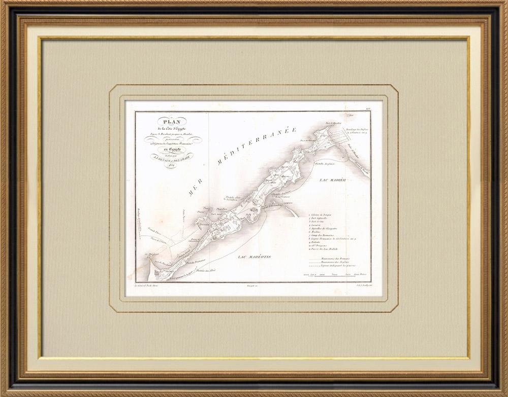 Grabados & Dibujos Antiguos | Plano de la costa de Egipto - Campaña Napoleónica en Egipto | Grabado calcográfico | 1830
