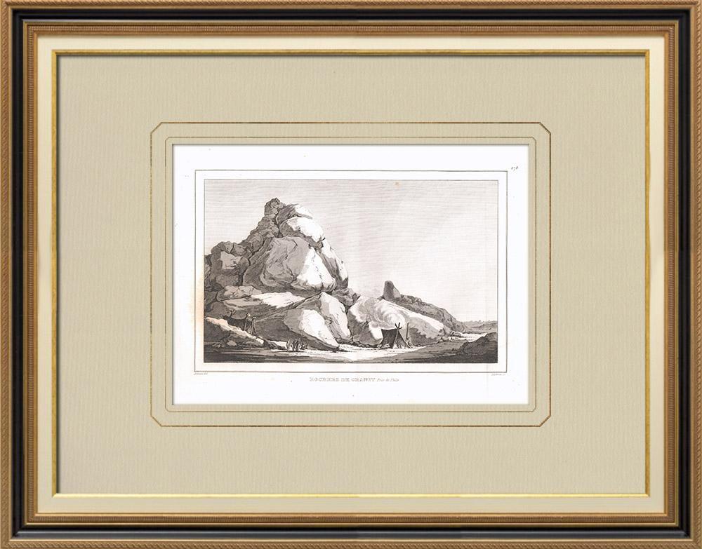 Stare Grafiki & Rysunki | Granitowe Skały w Pobliżu Fileła (Egipt) | Miedzioryt | 1830