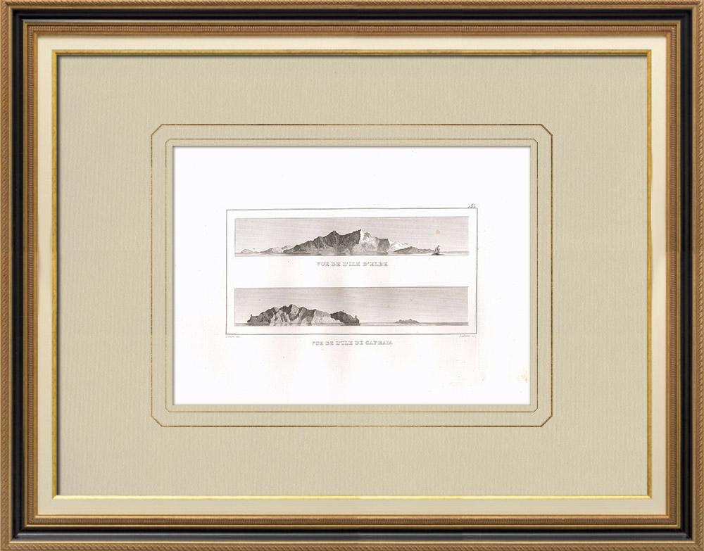 Antique Print & Etching | Ansicht von Insel Elba - Ansicht von Capraia (Italien) | Kupferstich | 1830