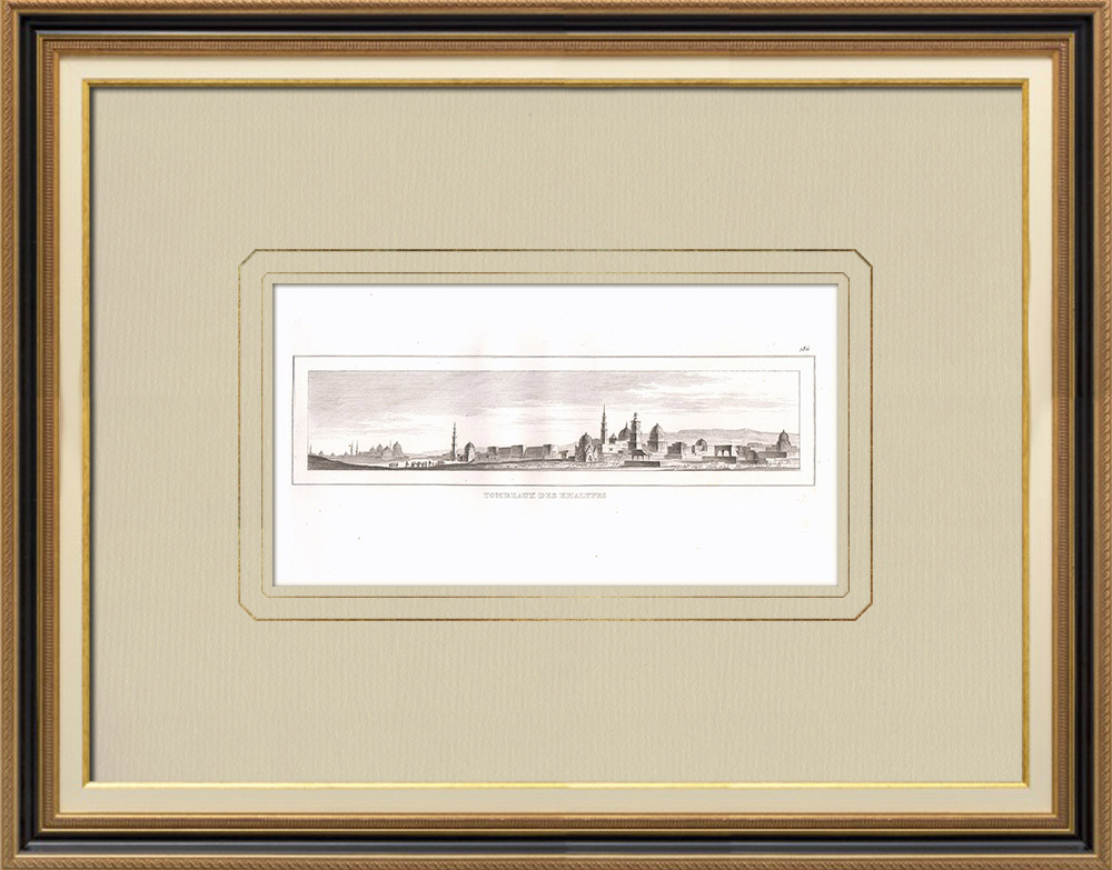 Stare Grafiki & Rysunki | Groby Kalifów - Kair (Egipt) | Miedzioryt | 1830
