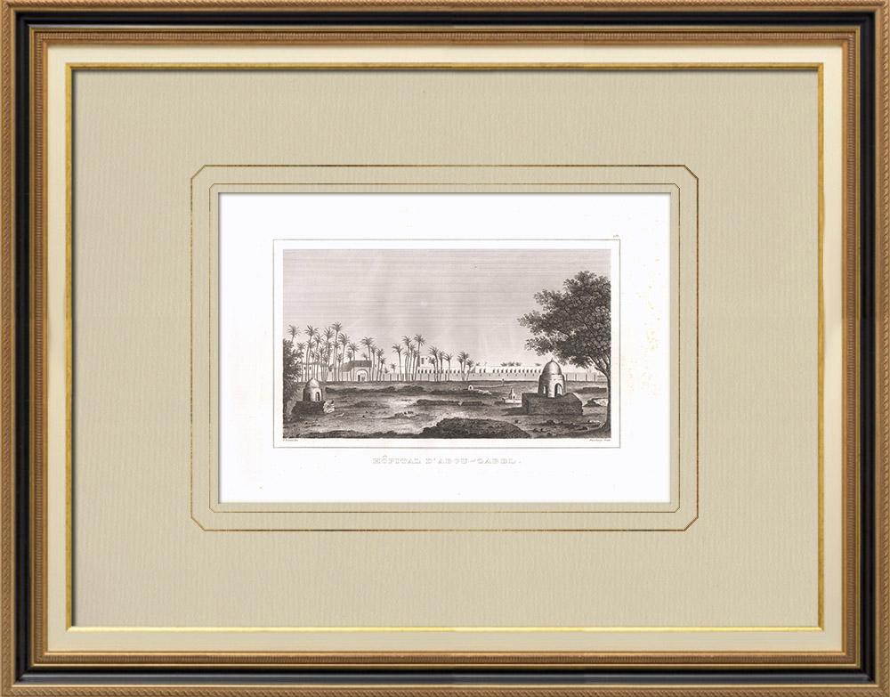 Gravuras Antigas & Desenhos | Hospital de Abu Zaabal (Egito) | Gravura em buril sobre cobre | 1830