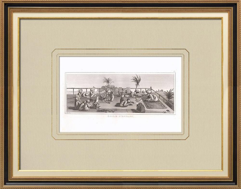 Antika Tryck & Ritningar | En barnskola (Egypten) | Kopparstick | 1830