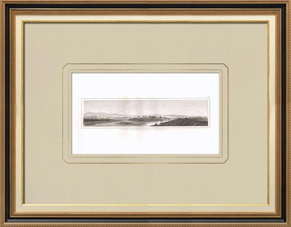 Grabados & Dibujos Antiguos | Vista de Tebas - Nilo - Karnak - Mnemonium (Egipto) | Grabado calcográfico | 1830