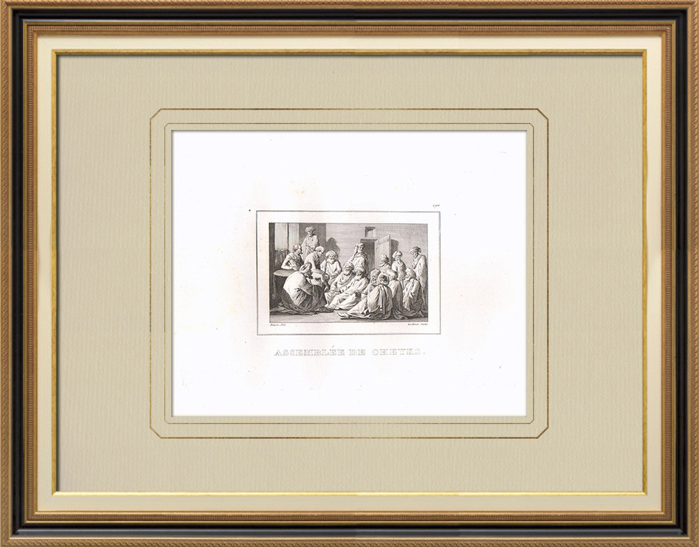 Grabados & Dibujos Antiguos | Asamblea de Jeques - Campaña Napoleónica en Egipto (Egipto) | Grabado calcográfico | 1830