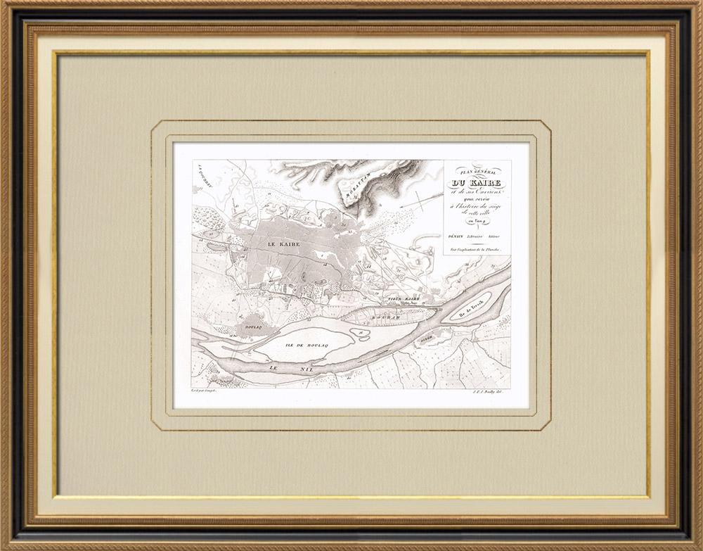 Gravuras Antigas & Desenhos | Plano do Cairo e seus arredores - Campanha de Egipto (Egito) | Gravura em buril sobre cobre | 1830