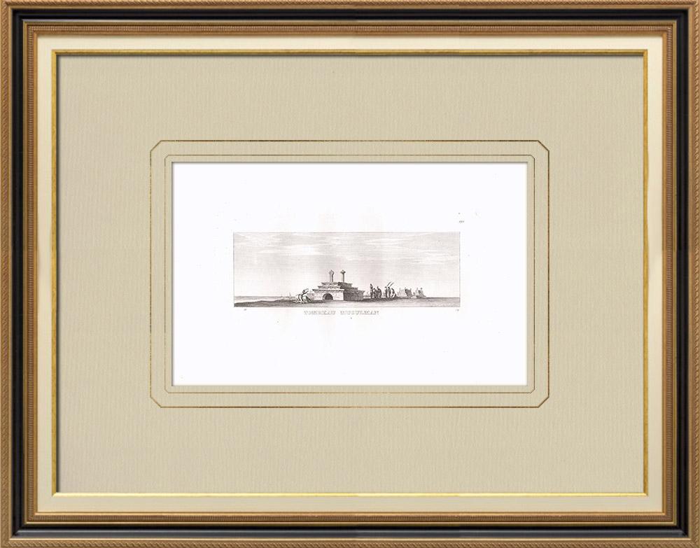 Stare Grafiki & Rysunki | Muzułmański Grób (Egipt) | Miedzioryt | 1830