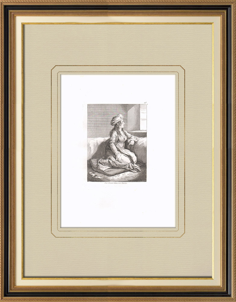 Antique Prints & Drawings | An Egyptian woman in the harem (Egypt) | Copper engraving | 1830