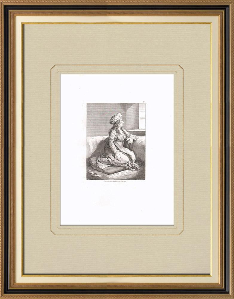 Antique Print & Etching | Eine ägyptische Frau im Harem (Ägypten) | Kupferstich | 1830