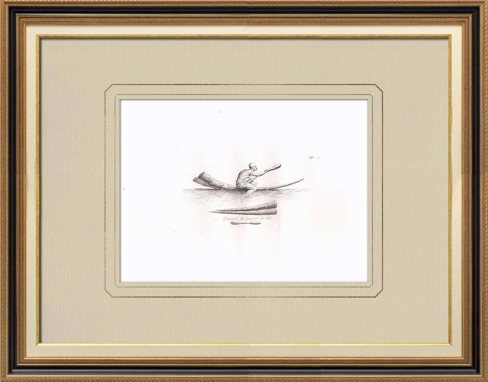 Gravures Anciennes & Dessins | Mode de traversée du Nil (Egypte) | Gravure sur cuivre | 1830