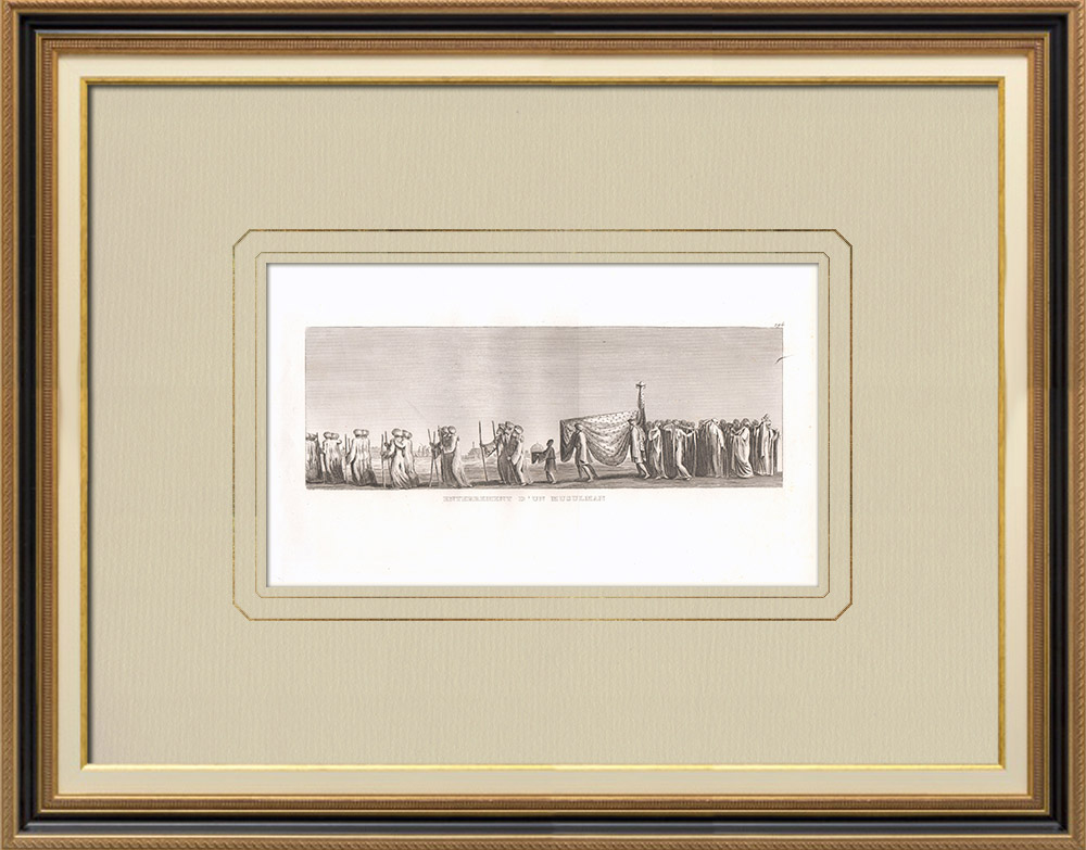 Antique Prints & Drawings | Burial of a Muslim (Egypt) | Copper engraving | 1830