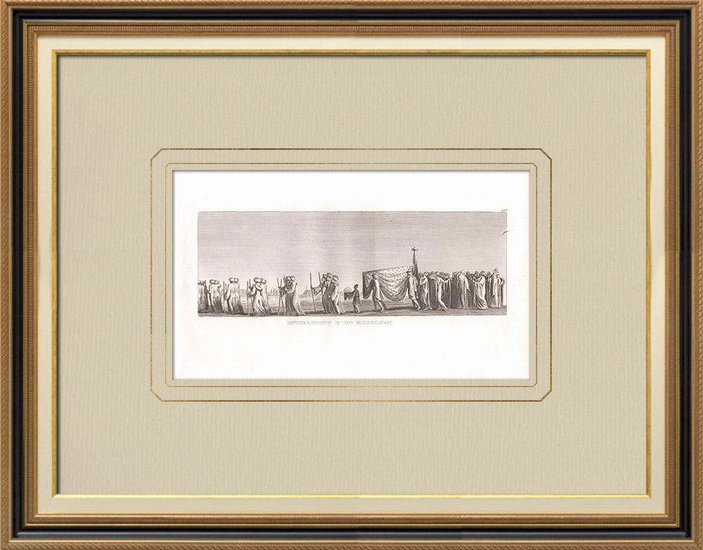 Antika Tryck & Ritningar | Begravning av en Muslim (Egypten) | Kopparstick | 1830