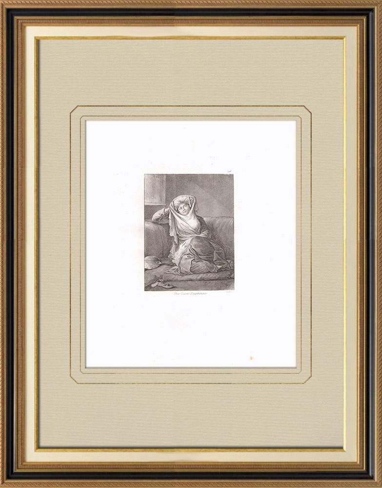 Stare Grafiki & Rysunki | Egipska Dama (Egipt) | Miedzioryt | 1830