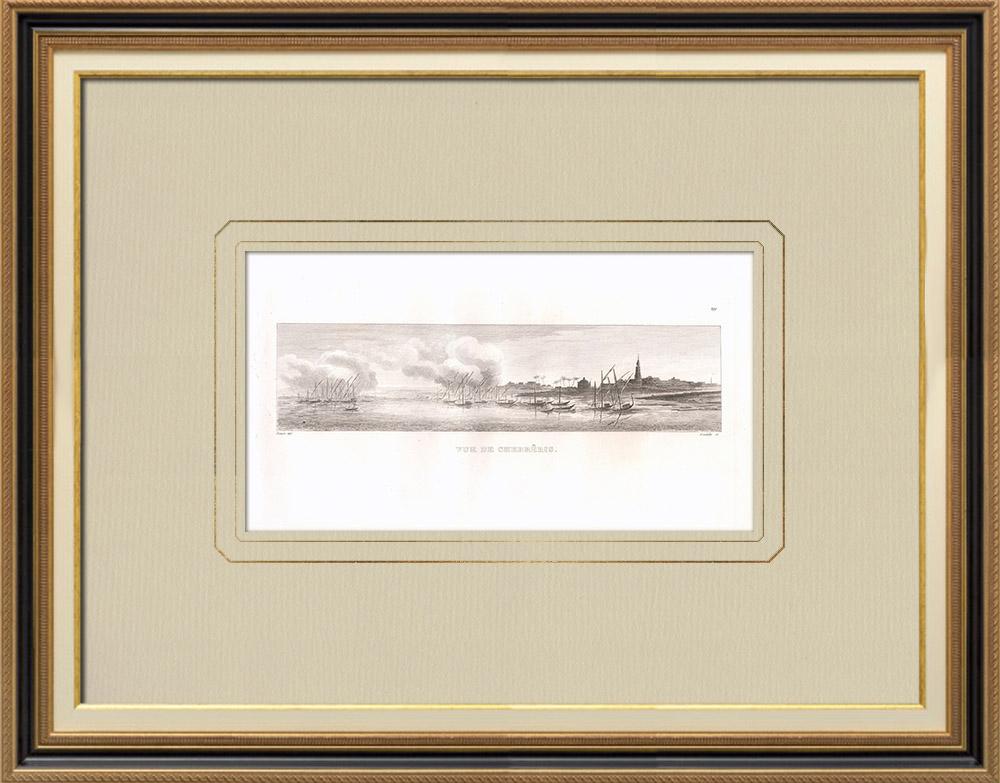 Antique Print & Etching | Ansicht von Chebrêris (Ägypten) | Kupferstich | 1830