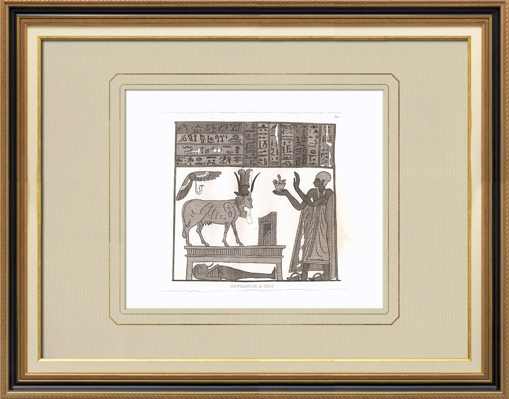 Antique Prints & Drawings | Offering to Isis (Egypt) | Copper engraving | 1830