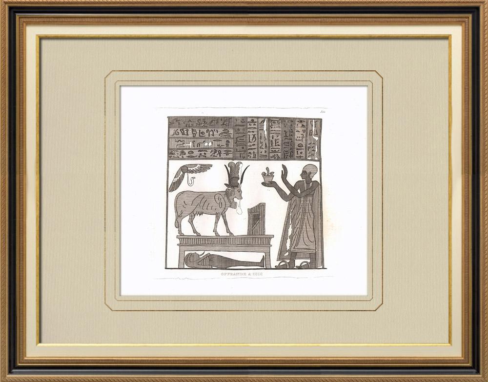 Antika Tryck & Ritningar | Erbjuder till Isis (Egypten) | Kopparstick | 1830