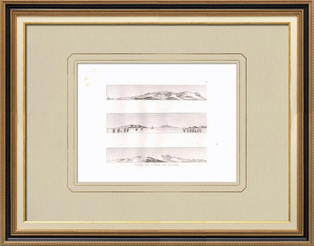 Gravuras Antigas & Desenhos | Vistas da Córsega - Campanha de Egipto (França) | Gravura em buril sobre cobre | 1830