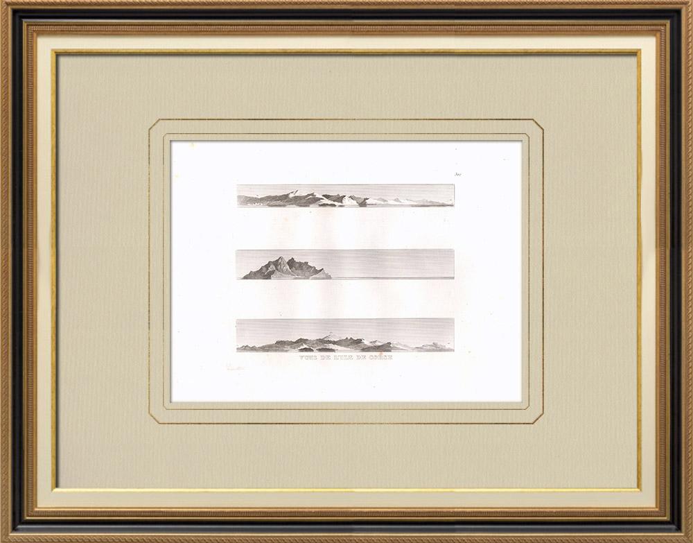 Oude Prenten & Tekeningen | Uitzicht op Corsica - Napoleontische Campagne in Egypte (Frankrijk) | Kopergravure | 1830