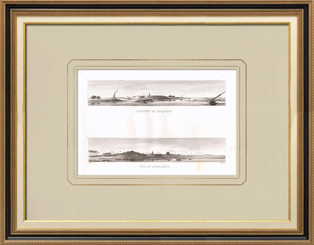 Gravuras Antigas & Desenhos | Bathen êl-Baqarah - Vista de Chebréïs (Egito) | Gravura em buril sobre cobre | 1830