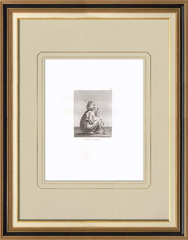 Grabados & Dibujos Antiguos | Un hombre del gente común (Egipto) | Grabado calcográfico | 1830
