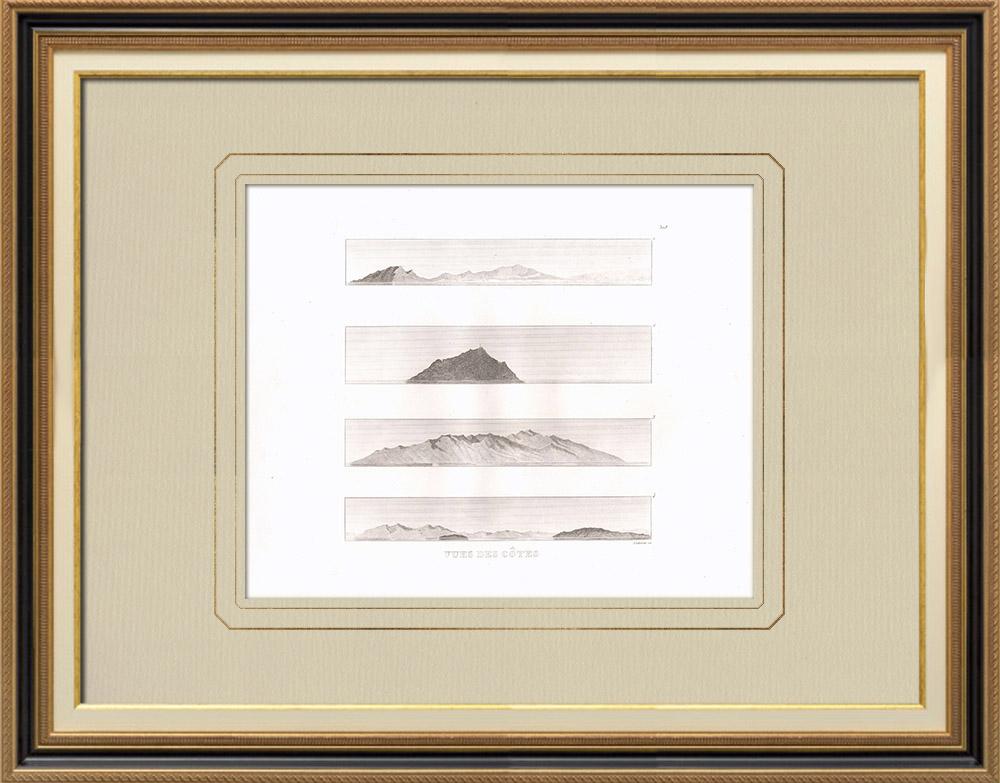 Antika Tryck & Ritningar | Vy över kusten - Sicilien - Marsala - Marettimo - Candia - Egypten | Kopparstick | 1830