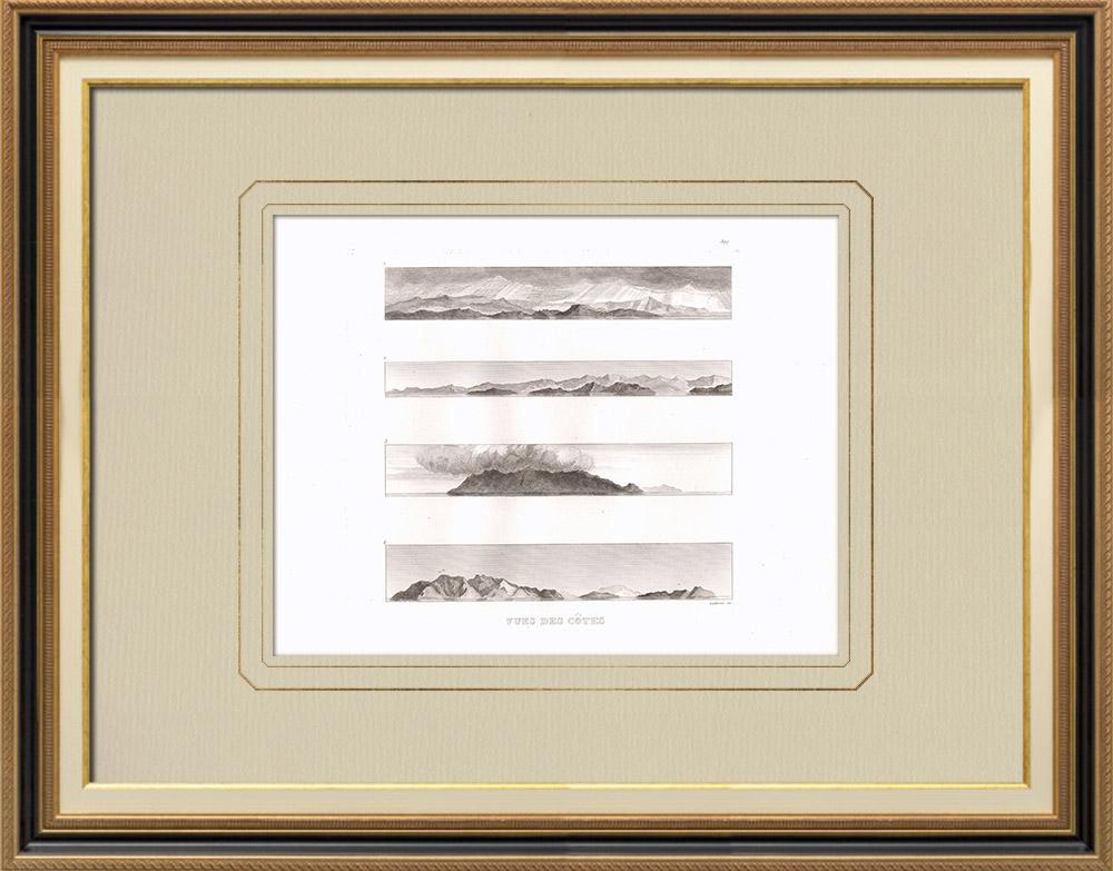 Antika Tryck & Ritningar | Vy över kusten - Sardinien - Marettimo - Egypten | Kopparstick | 1830