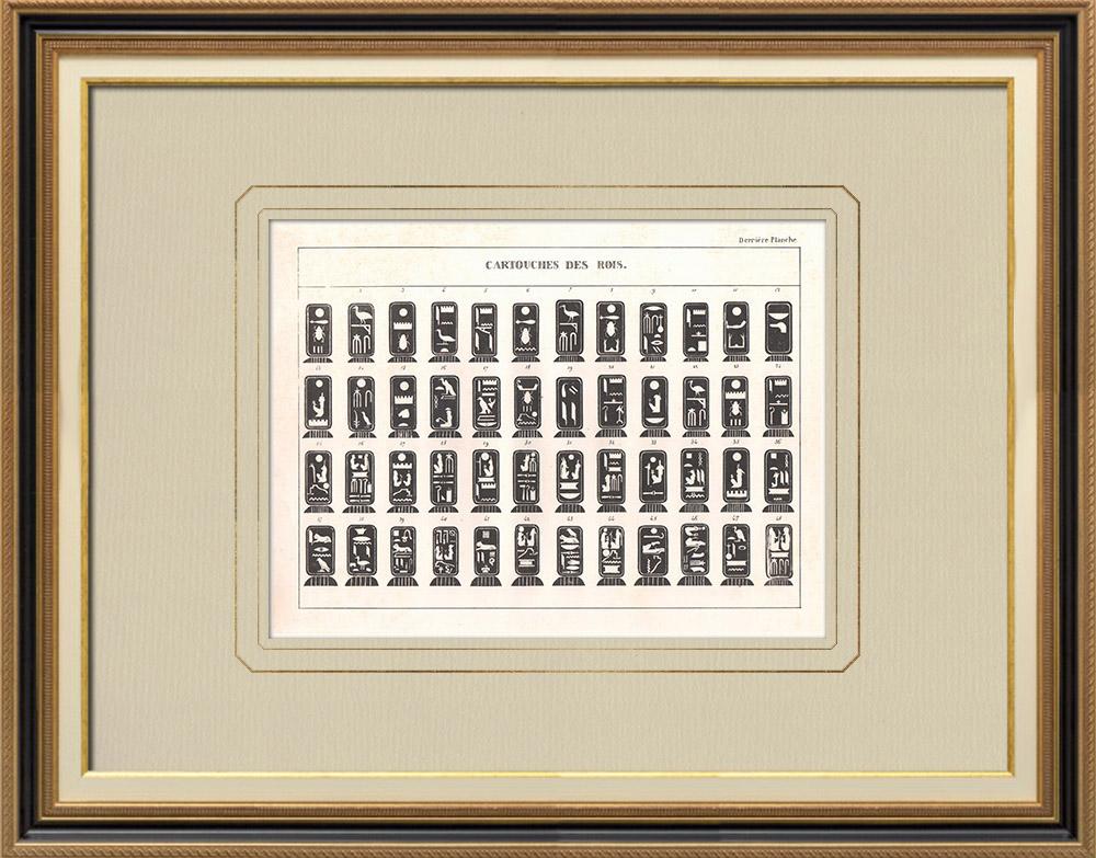 Grabados & Dibujos Antiguos | Jeroglíficos egipcios - Cartuchos de reyes y reinas de Egipto | Grabado calcográfico | 1830