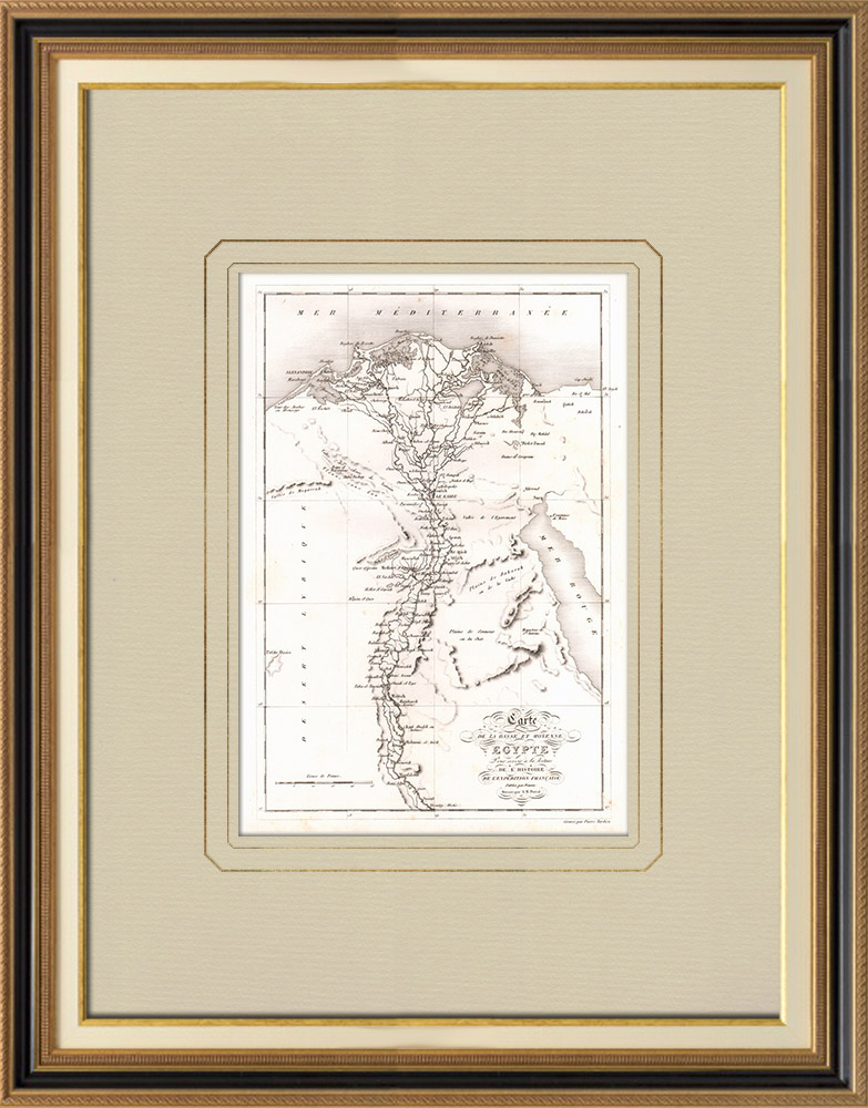 Gravuras Antigas & Desenhos | Mapa antigo do Baixo e Médio Egito | Gravura em buril sobre cobre | 1830