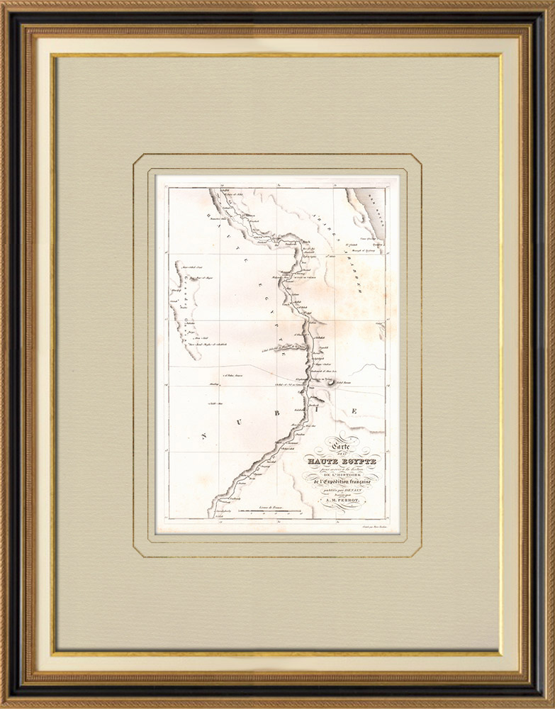 Antique Prints & Drawings | Old map of Upper Egypt | Copper engraving | 1830