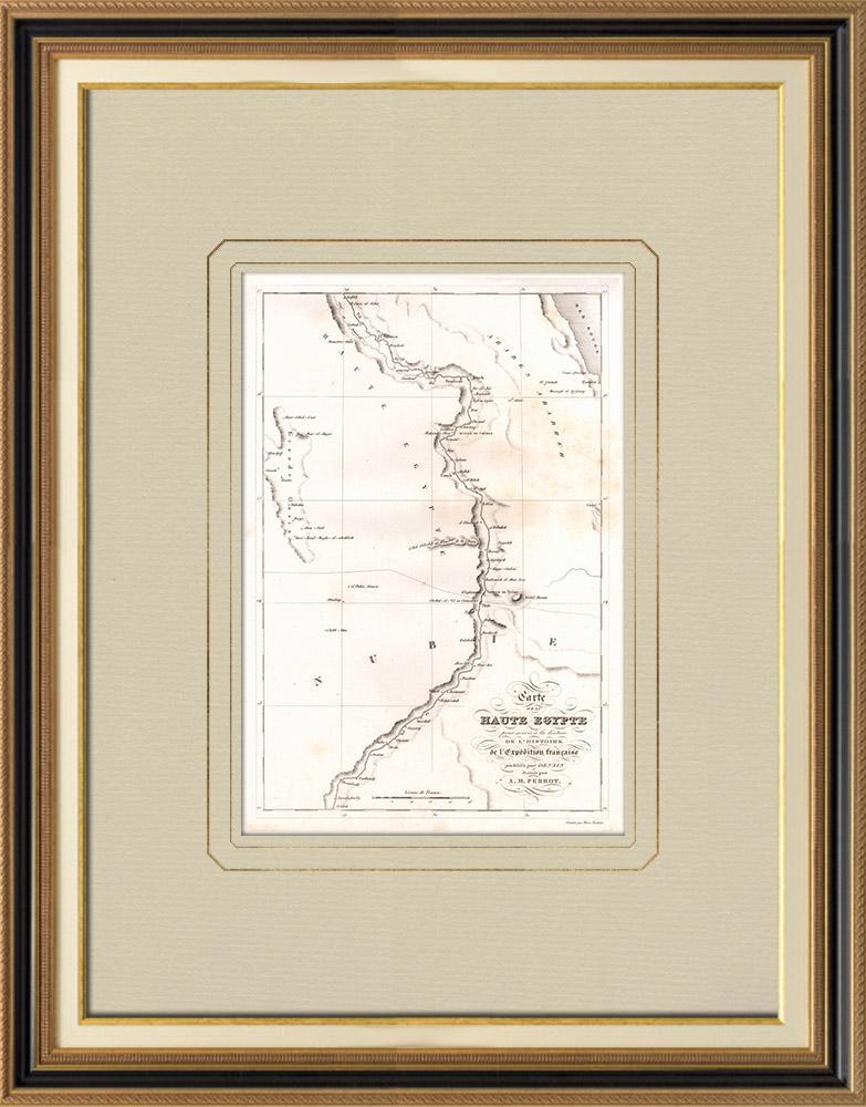 Gravuras Antigas & Desenhos | Mapa antigo do Alto Egitto | Gravura em buril sobre cobre | 1830