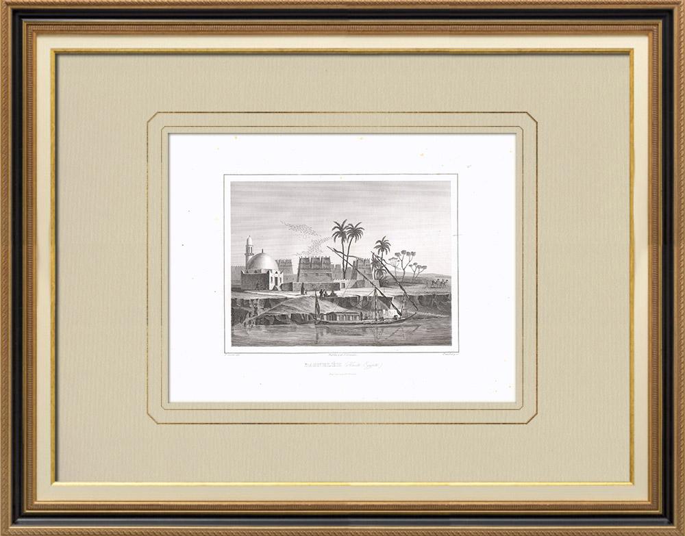 Antika Tryck & Ritningar | Vy över Bagneléh - Övre Egypten - Nilen (Egypten) | Kopparstick | 1830