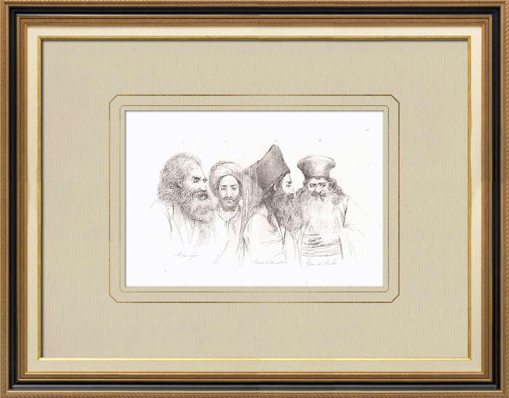 Antique Prints & Drawings | Egyptian costumes - Greek monk - Jewish - Primate  - Greek from Rosette (Egypt) | Copper engraving | 1830