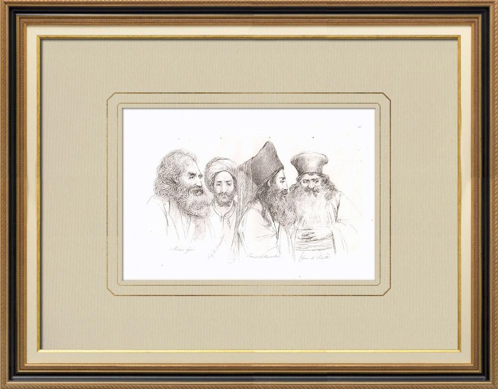Gravuras Antigas & Desenhos | Trajes Egípcios - Monge grego - Judeu - Primat - Grego de Rosette (Egito) | Gravura em buril sobre cobre | 1830