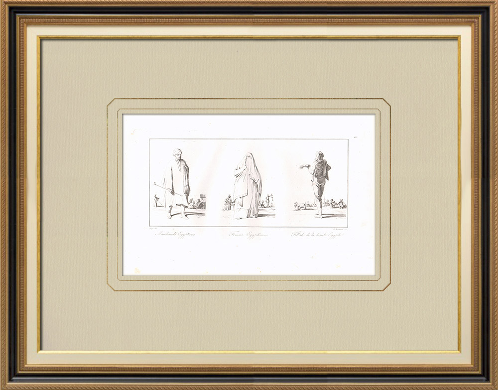 Gravures Anciennes & Dessins | Costumes Egyptiens - Marchands - Femme - Fellah de la Haute Egypte (Egypte) | Gravure sur cuivre | 1830