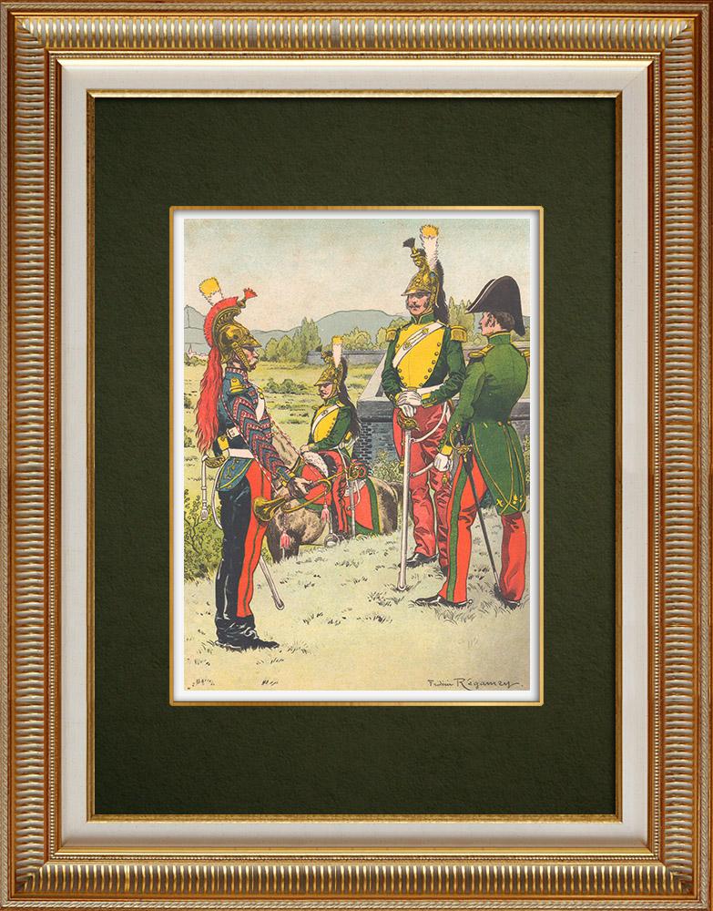 Antique Print & Etching | 7. Dragonerregiment in Sélestat - Elsass - Frankreich (1825) | Grafik | 1911