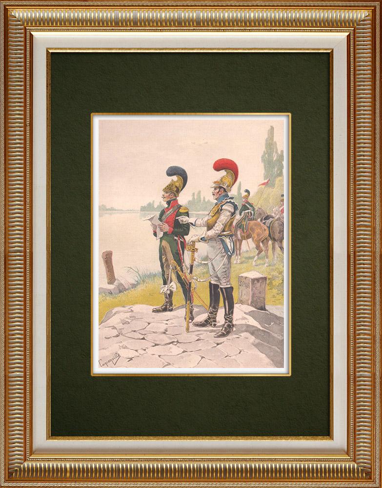 Gravures Anciennes & Dessins | Chevau-légers lanciers et Carabiniers à Strasbourg - Alsace - France (1813-14) | Impression | 1911