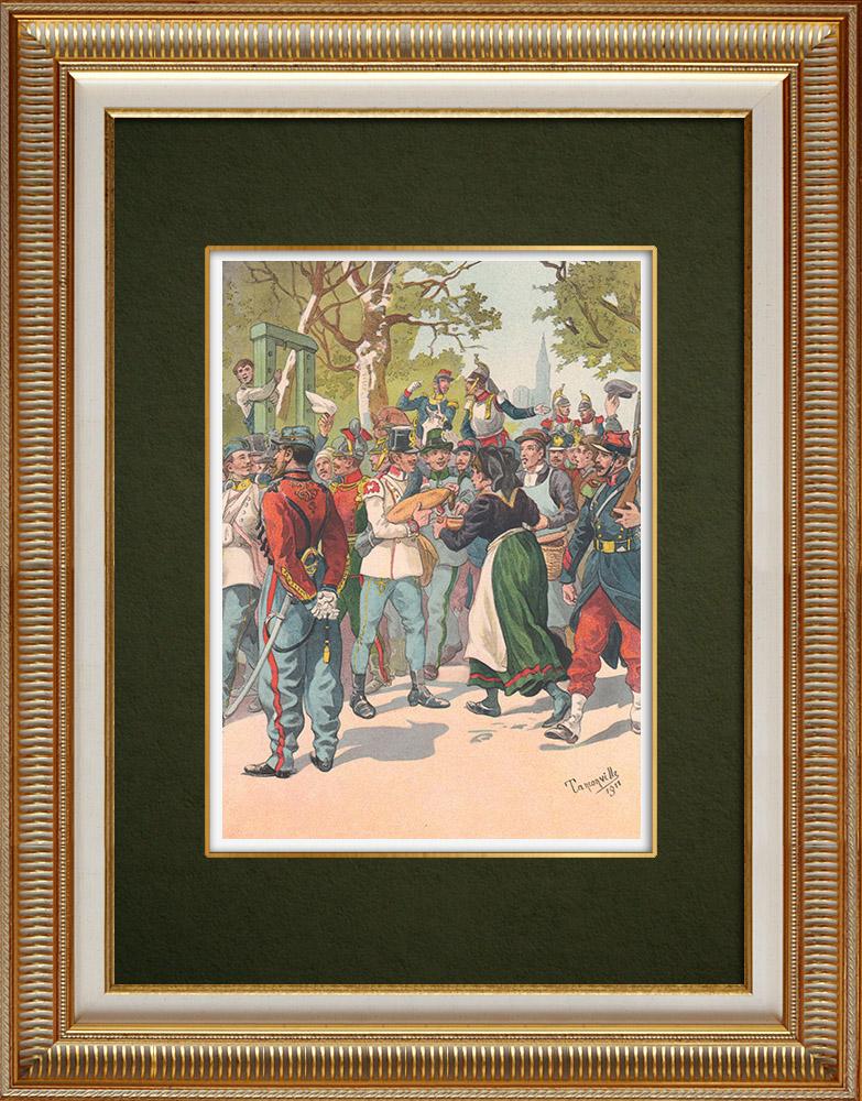 Oude Prenten & Tekeningen | Oostenrijkse en Hongaarse Infanterie - Elzas (1859-1860) | Druck | 1911
