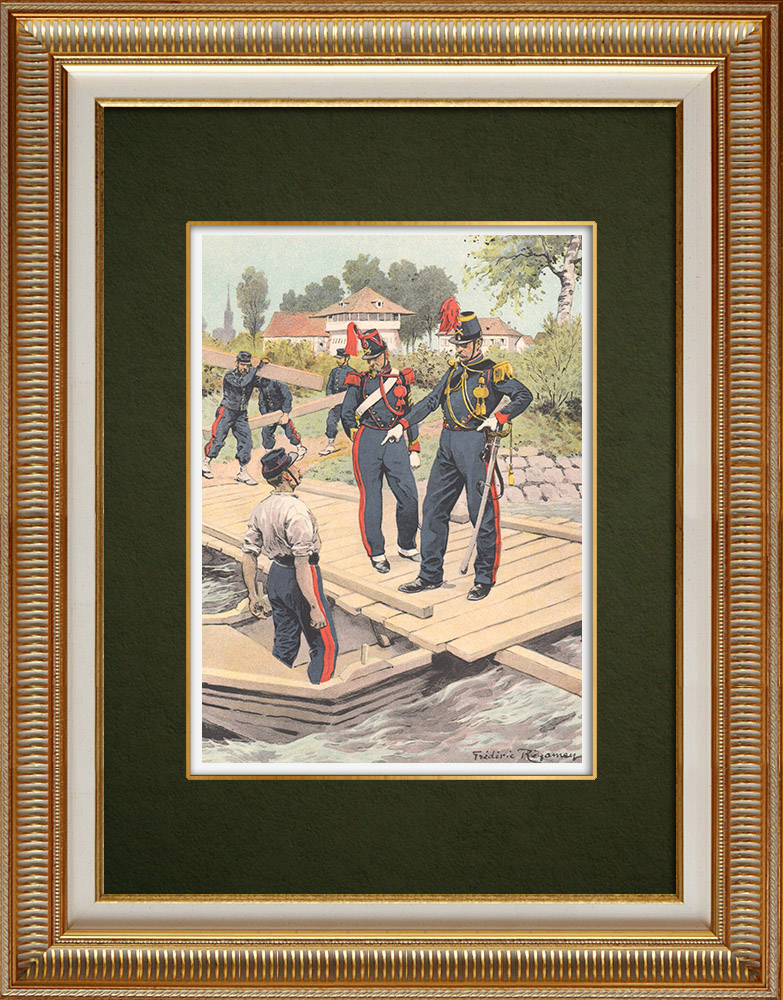 Gravuras Antigas & Desenhos | 15º Regimento de Artilharia de Estrasburgo - Alsácia - França (1855) | Estampa | 1911