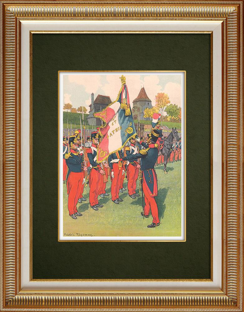 Gravures Anciennes & Dessins | 69ème Régiment d'Infanterie de ligne à Strasbourg - Alsace - France (1840) | Impression | 1911