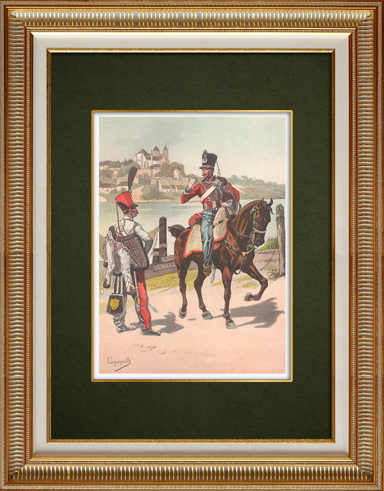 Antique Prints & Drawings | Regiments of the Hussars of the Moselle and of the North - Alsace - France (1819) | Print | 1911