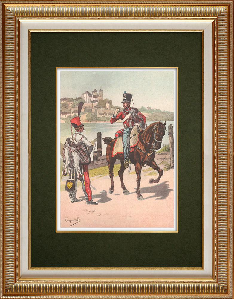 Oude Prenten & Tekeningen | Regimenten van de Huzaren van de Moezel en van het Noorden - Elzas - Frankrijk (1819) | Druck | 1911