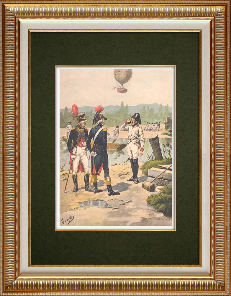Grabados & Dibujos Antiguos | Ingeniería militar - Pontoneros en Estrasburgo - Aeronauts en Barr - Alsacia - Francia (1800) | Estampa | 1911